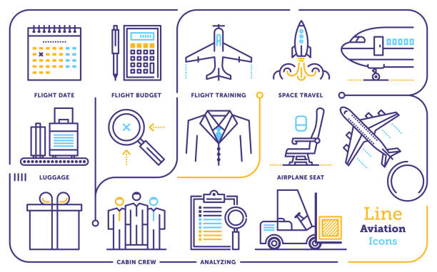 Aviation Line Icon Set Line icon vector illustrations of aviation industry. airport icons stock illustrations