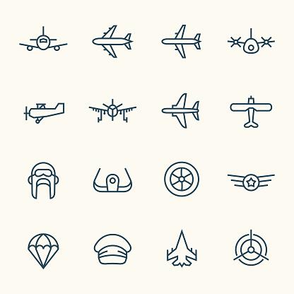 Aviation line icons