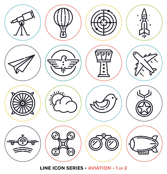 aviation line icons - astronomy telescope stock illustrations