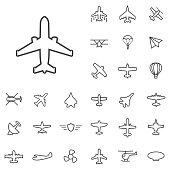 aviation outline, thin, flat, digital icon set