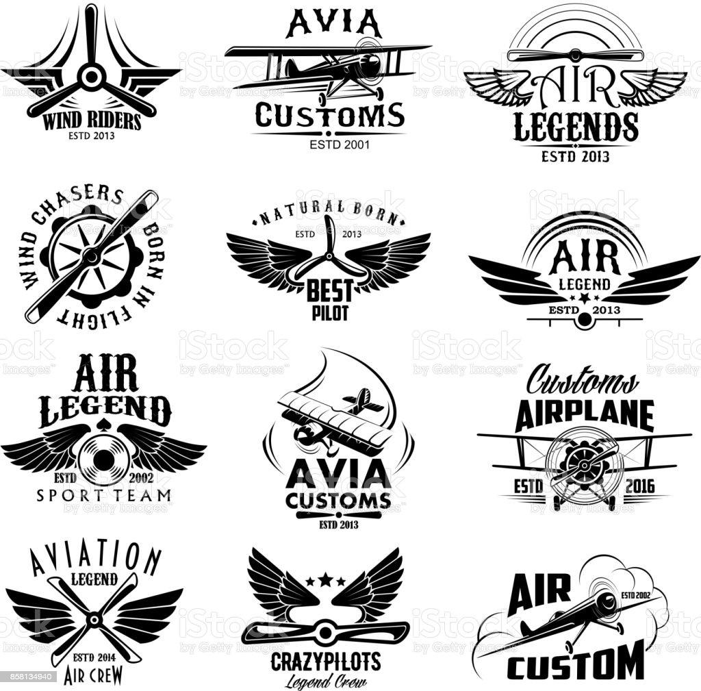 Aviación avión retro deporte equipo vector los iconos - ilustración de arte vectorial