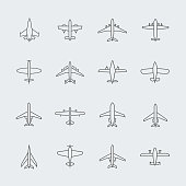 Aviation thin line icons and linear aircraft planes vector signs