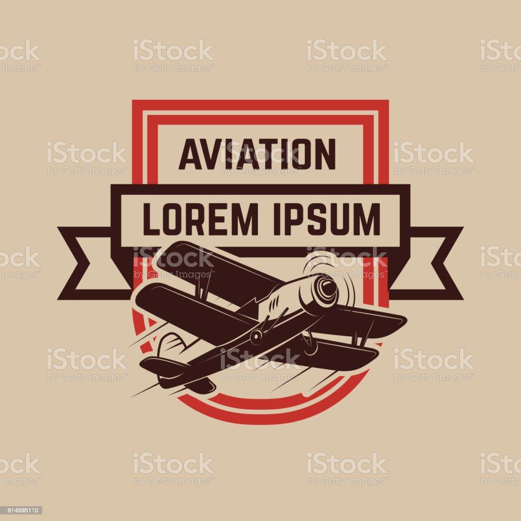 Aviation training center emblem template with retro airplane. Design element for label, emblem, sign. vector art illustration