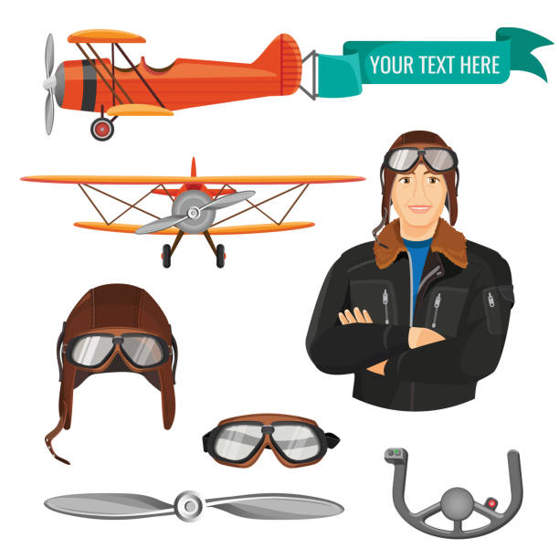 Aviation transport and worker colorful poster on white vector art illustration