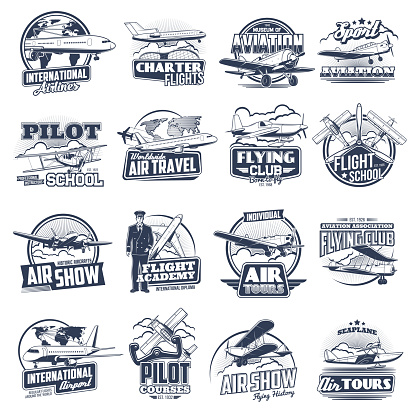 Aviation vector icons vintage and modern planes