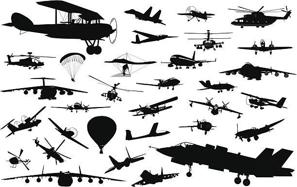 에비에이션 - 낙하산 항공 비행체 stock illustrations