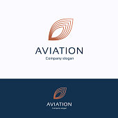 Aviation  . Feather copper blue  type. Wing avia transport template