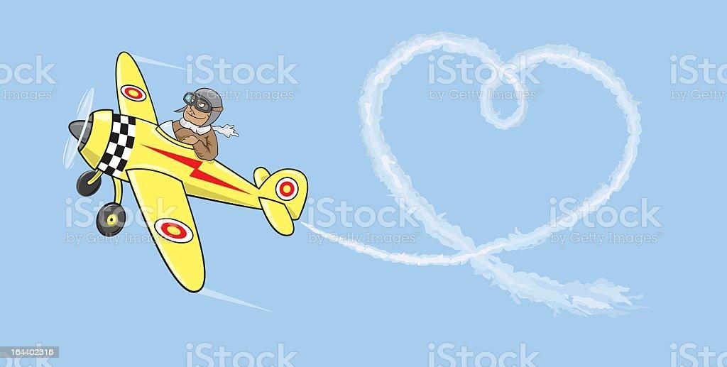 Aviator in love royalty-free stock vector art