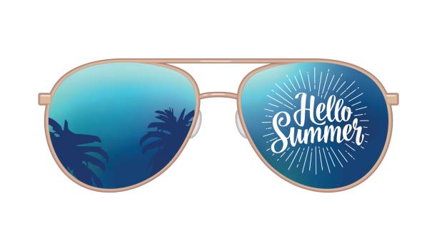 Aviator modern sunglasses with palms reflection and Hello Summer lettering vector art illustration
