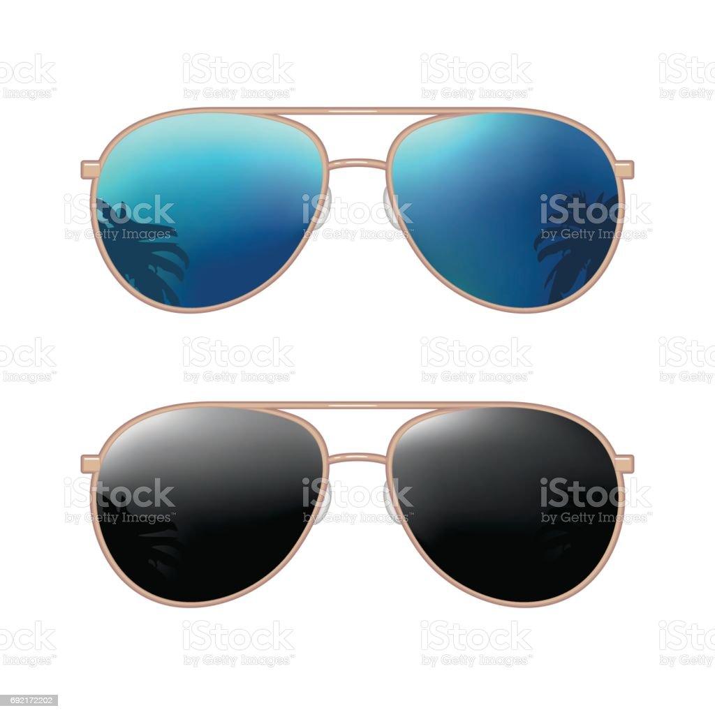 257d2434cc Aviador modernas gafas de sol con la reflexión de las palmas. Figura plana  de color