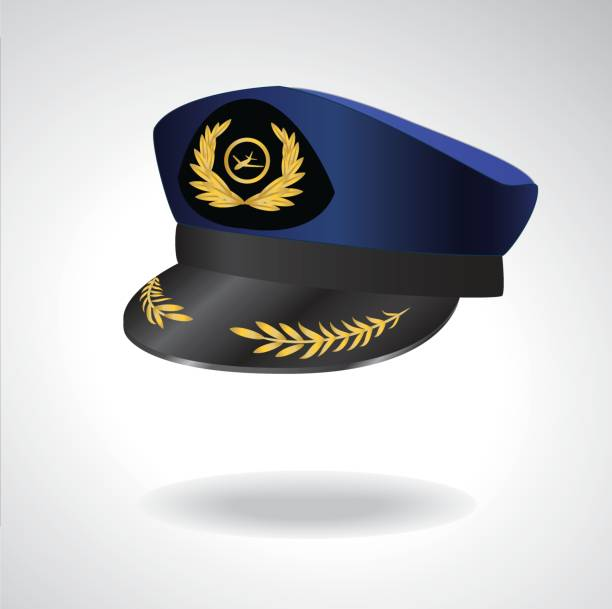 Aviator Peaked cap of the pilot. Civil aviation and air transport. Light Background Aviator Peaked cap of the pilot. Civil aviation and air transport. Editable Vector illustration. uniform cap stock illustrations