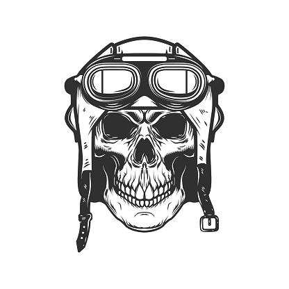 Aviator skull in aviators helmet. Design element for label, sign, emblem. Vector illustration