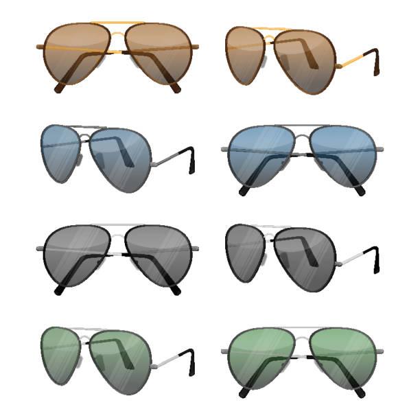 Aviator sunglasses isolated on white. Dark brown reflective lense vector art illustration