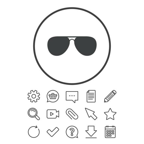 Aviator sunglasses sign icon. Pilot glasses. vector art illustration