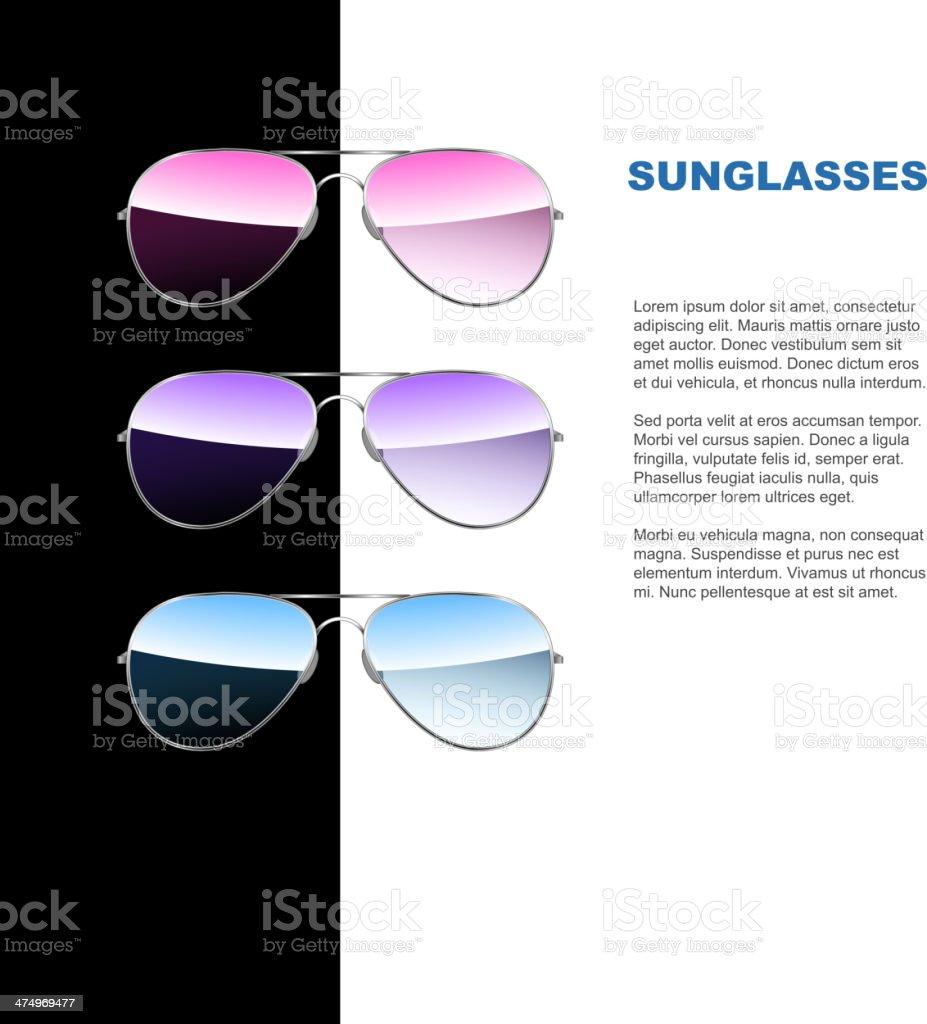 Aviator sunglasses. Vector vector art illustration