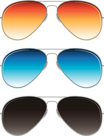 aviator sunglasses with orange, blue, and dark grey lenses