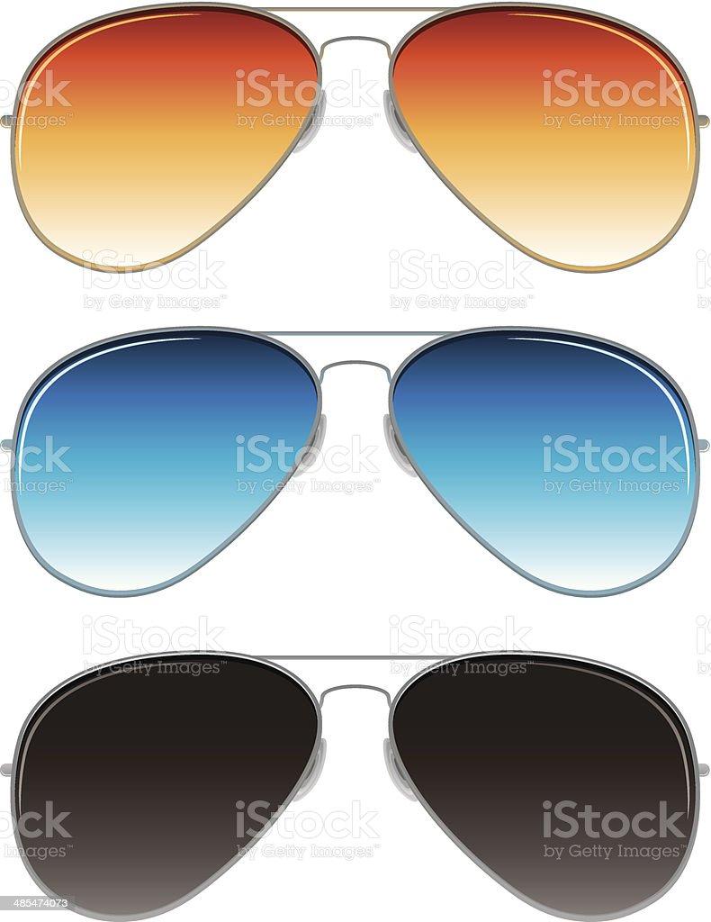 aviator sunglasses with orange, blue, and dark grey lenses vector art illustration