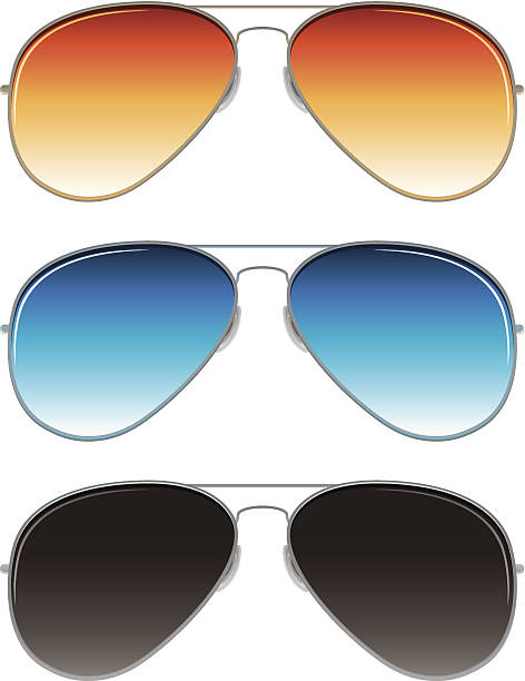 aviator sunglasses with orange, blue, and dark grey lenses - sunglasses stock illustrations, clip art, cartoons, & icons