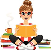 A cute girl sitting cross legged reading a great book. She is enjoying a hot beverage in her cozy pants and socks. There is an Ereader on top of the smaller stack of books. Glasses, book stacks, freckles, Ereader, mug, and steam all separately removable in Ai.