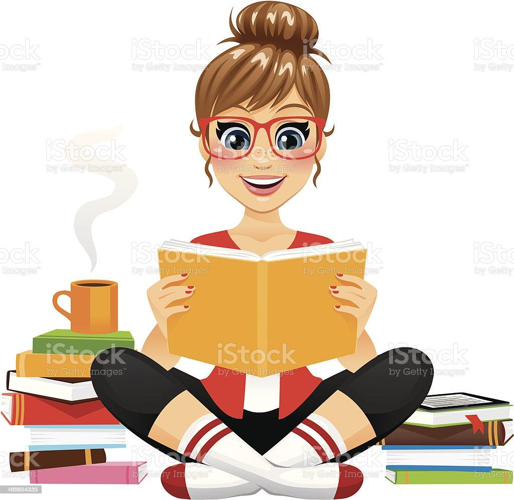 Avid Reader Girl vector art illustration