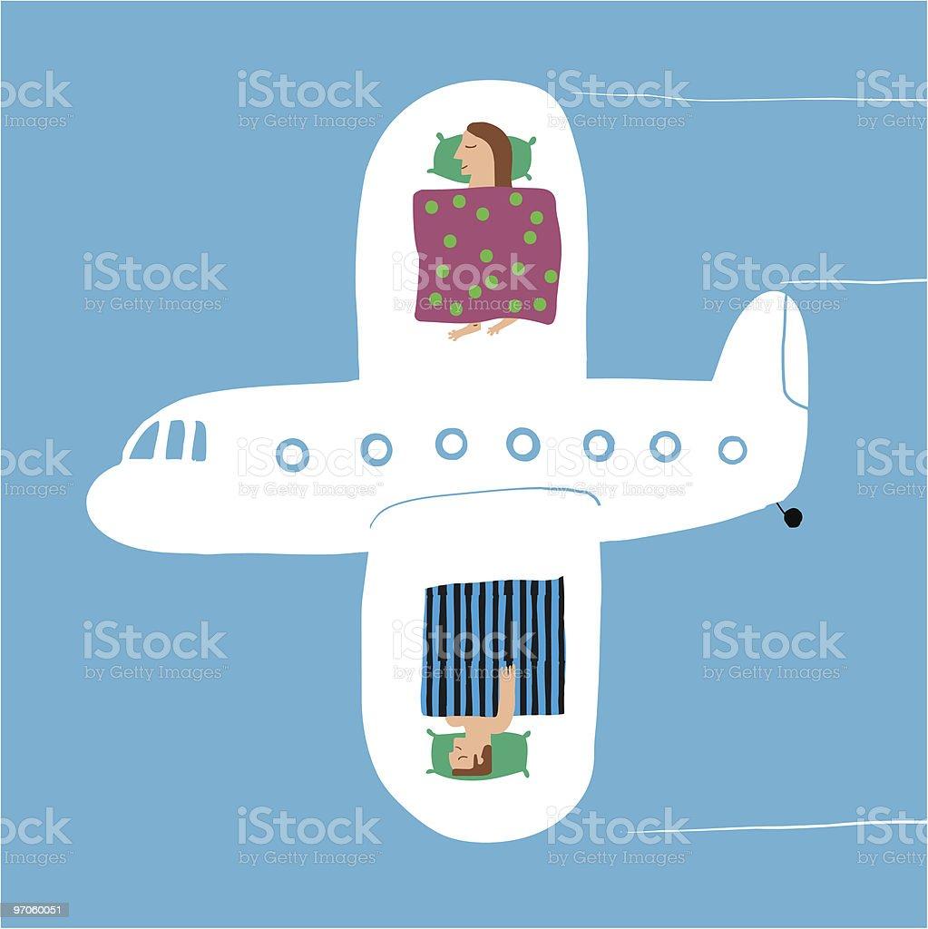 Avión con pasajeros dormidos en las alas royalty-free stock vector art