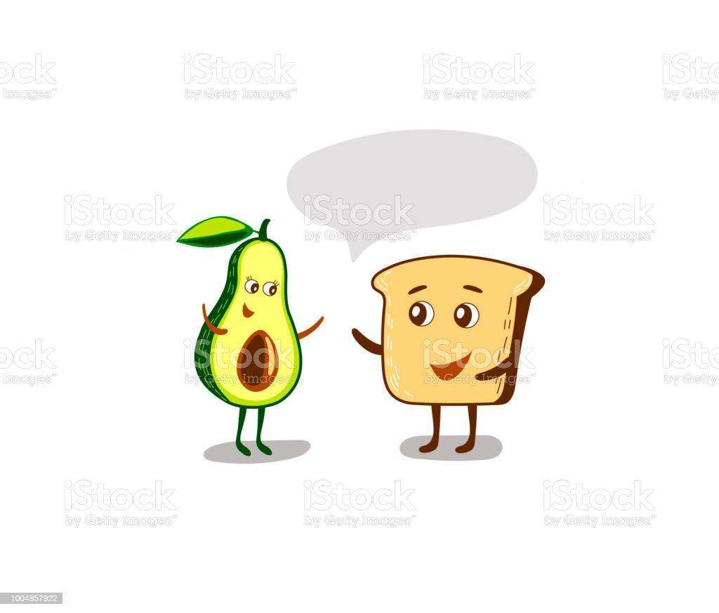 Avocado and bread toast vector art illustration