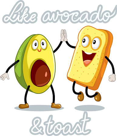 Avocado and Toast Funny Vector Characters