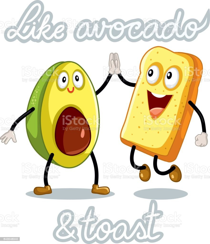 Avocado and Toast Funny Vector Characters vector art illustration