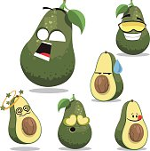 Cartoon avocado set including: