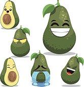 Cartoon avocado set including: