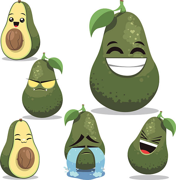 Avocado Cartoon Set B Cartoon avocado set including:  avocado clipart stock illustrations