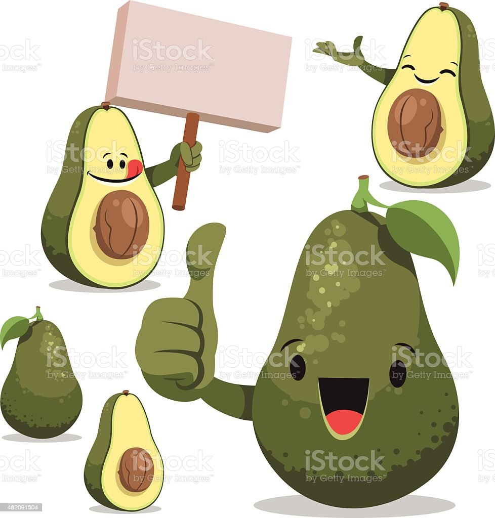 Avocado Cartoon Set C vector art illustration