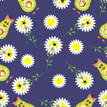 Avocado, chamomile, daisies, seamless pattern. Flowers, wasps, bees on a blue background. Funny fruits with bows. For textiles, fabrics, packaging, cover and design decoration. Vector illustration