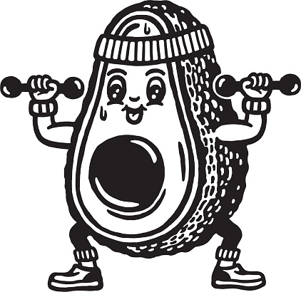 Avocado Character Working Out