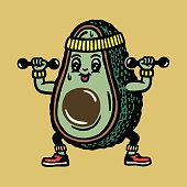 istock Avocado Character Working Out 1328207552