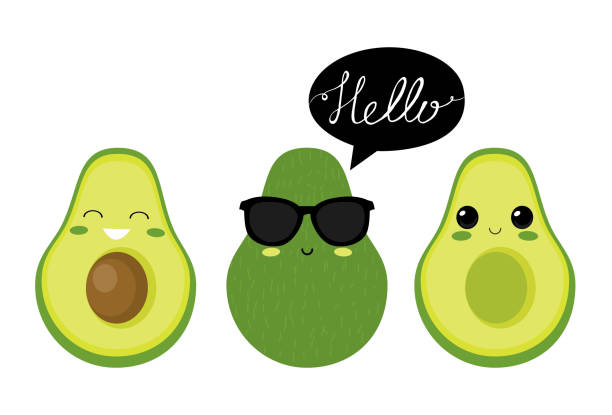 avocado characters Cute  avocado characters. Vector set avocado stock illustrations