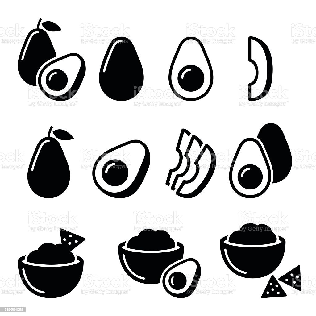 Avocado cut in half, fruit, guacamole with nachos icons set vector art illustration