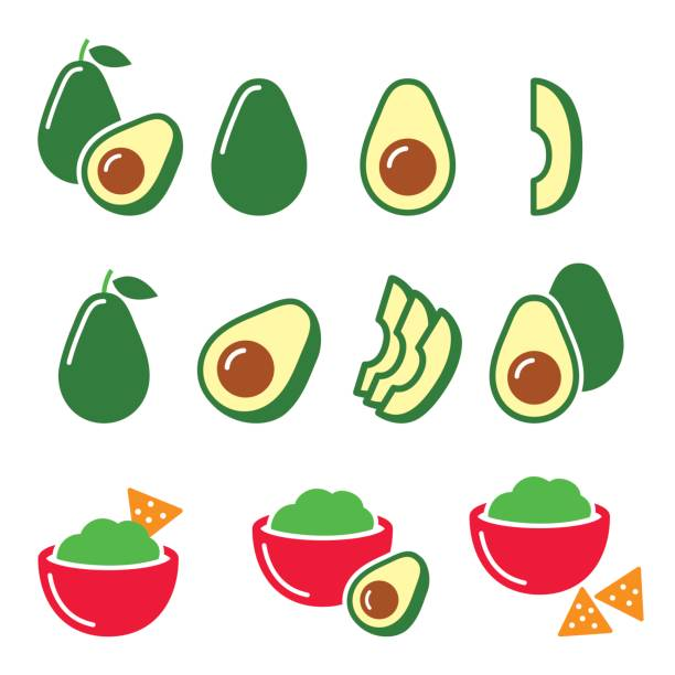 Avocado cut in half, fruit, guacamole with nachos icons set Vector food icons - avocado with seed isolated on white avocado icons stock illustrations