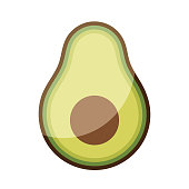 Vector illustration of a cute and colorful avocado fruit. Cut out design element for social media platforms, online messaging, as a background, for healthy eating and lifestyles, keto diet, weight lose, foods and drinks, restaurants and bars, cultures and traditions, cooking recipes, and design projects in general, ideas and concepts.
