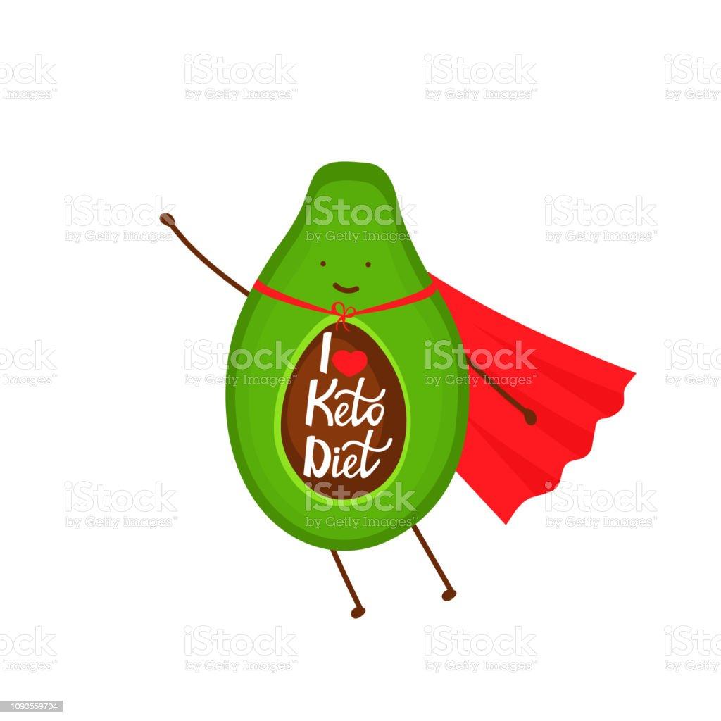 Avocado, gekleidet wie ein Superhelden-Comic-Figur. Ich liebe Keto Diät - hand gezeichneten Schrift. – Vektorgrafik