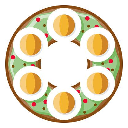 Avocado Egg Bagel Icon on Transparent Background