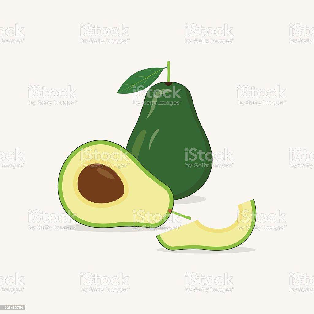 Avocado Flat Icon vector art illustration