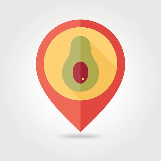 Avocado flat pin map icon. Tropical fruit vector art illustration