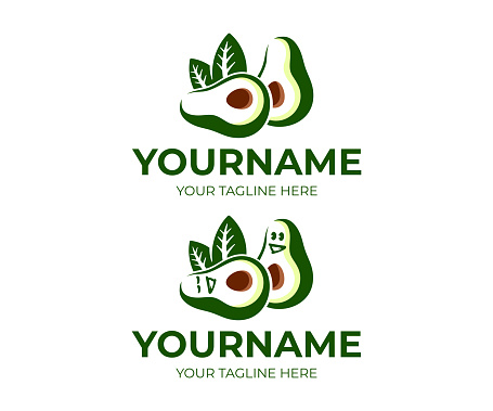 Avocado fruit and avocado cartoon character, design. Food, eating and vegetarian meal, vector design and illustration