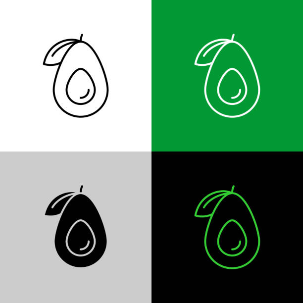 Avocado fruit thin line simple icon variations. Avocado fruit thin linear simple icon. Adjustable stroke line. avocado stock illustrations