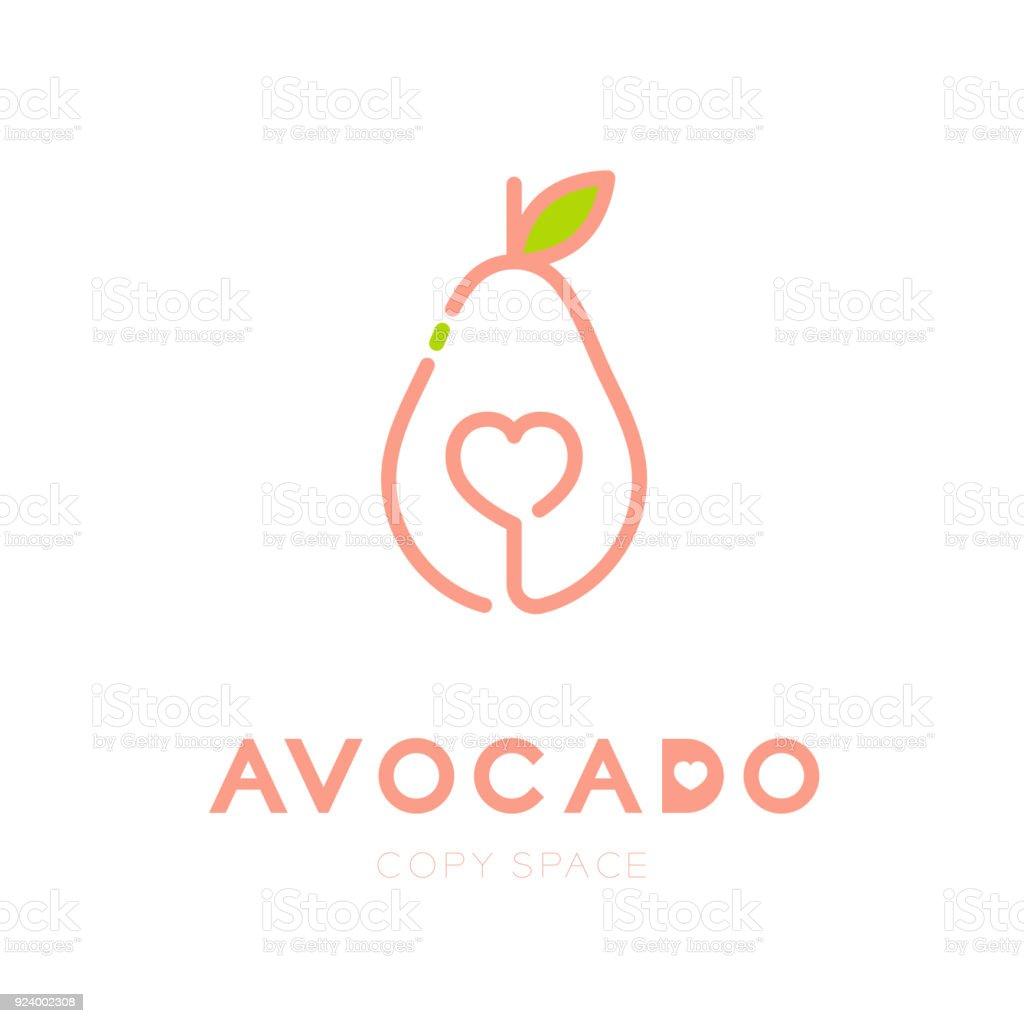 Avocado Fruit With Heart Symbol Icon Outline Stroke Set Design