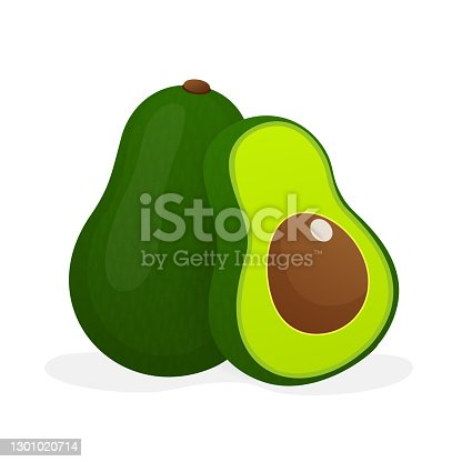 Avocado, great design for any purposes. Vector hand drawn illustration. Funny cartoon character