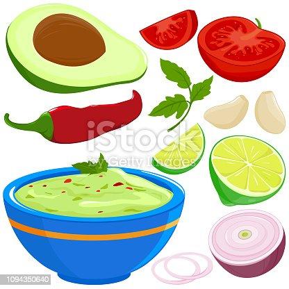 Ingredients for guacamole and bowl of avocado guacamole dip. Vector illustration