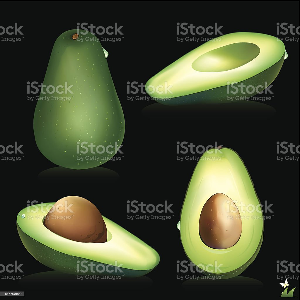 Avocado. Half of the fruit and cut into slices. royalty-free stock vector art