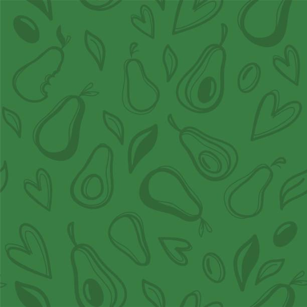 Avocado hand drawn seamless pattern. Avocado hand drawn seamless pattern. Vector illustration avocado patterns stock illustrations